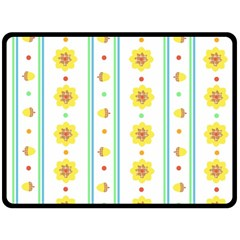 Beans Flower Floral Yellow Double Sided Fleece Blanket (Large)