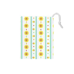 Beans Flower Floral Yellow Drawstring Pouches (Small)