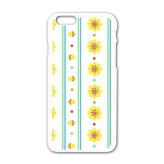 Beans Flower Floral Yellow Apple iPhone 6/6S White Enamel Case