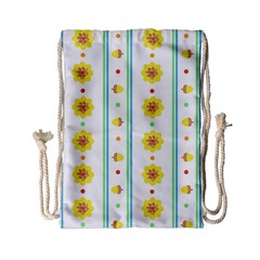 Beans Flower Floral Yellow Drawstring Bag (Small)