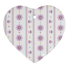 Beans Flower Floral Purple Ornament (heart)