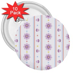 Beans Flower Floral Purple 3  Buttons (10 pack)