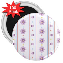 Beans Flower Floral Purple 3  Magnets (100 pack)