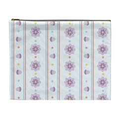 Beans Flower Floral Purple Cosmetic Bag (XL)