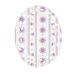 Beans Flower Floral Purple Ornament (oval Filigree)