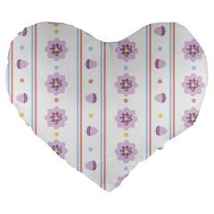Beans Flower Floral Purple Large 19  Premium Heart Shape Cushions