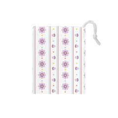 Beans Flower Floral Purple Drawstring Pouches (Small)