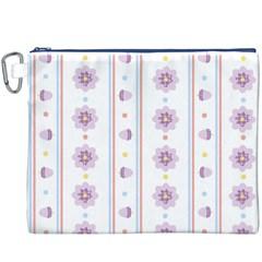 Beans Flower Floral Purple Canvas Cosmetic Bag (XXXL)