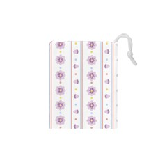 Beans Flower Floral Purple Drawstring Pouches (XS)