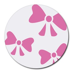 Bow Ties Pink Round Mousepads