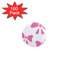 Bow Ties Pink 1  Mini Magnets (100 Pack)
