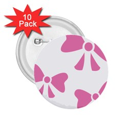 Bow Ties Pink 2 25  Buttons (10 Pack)