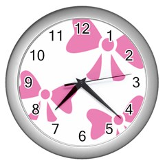 Bow Ties Pink Wall Clocks (Silver)
