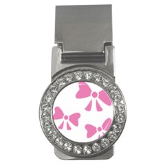 Bow Ties Pink Money Clips (CZ)