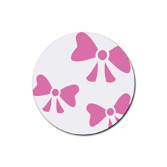 Bow Ties Pink Rubber Coaster (Round)