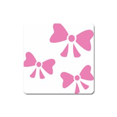 Bow Ties Pink Square Magnet