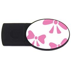 Bow Ties Pink USB Flash Drive Oval (2 GB)
