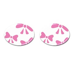 Bow Ties Pink Cufflinks (Oval)