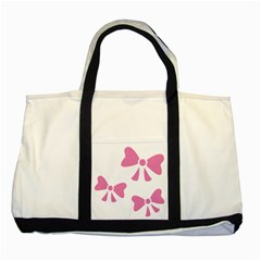 Bow Ties Pink Two Tone Tote Bag