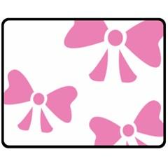 Bow Ties Pink Fleece Blanket (Medium)