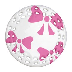 Bow Ties Pink Ornament (Round Filigree)