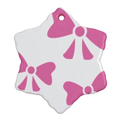 Bow Ties Pink Snowflake Ornament (Two Sides)