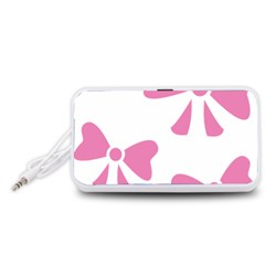 Bow Ties Pink Portable Speaker (White)