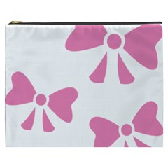 Bow Ties Pink Cosmetic Bag (XXXL)