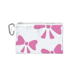 Bow Ties Pink Canvas Cosmetic Bag (S)