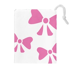 Bow Ties Pink Drawstring Pouches (Extra Large)