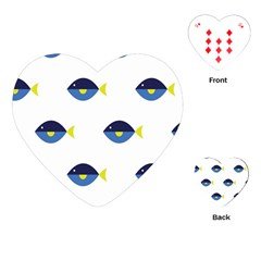 Blue Fish Swim Yellow Sea Beach Playing Cards (Heart)
