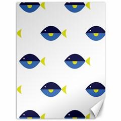 Blue Fish Swim Yellow Sea Beach Canvas 36  x 48
