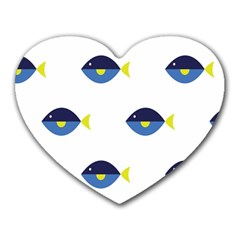 Blue Fish Swim Yellow Sea Beach Heart Mousepads