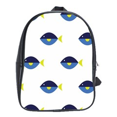Blue Fish Swim Yellow Sea Beach School Bags(Large)