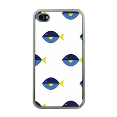 Blue Fish Swim Yellow Sea Beach Apple iPhone 4 Case (Clear)
