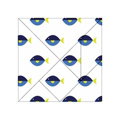 Blue Fish Swim Yellow Sea Beach Acrylic Tangram Puzzle (4  x 4 )