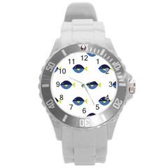 Blue Fish Swim Yellow Sea Beach Round Plastic Sport Watch (l)