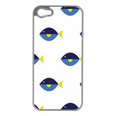 Blue Fish Swim Yellow Sea Beach Apple iPhone 5 Case (Silver)