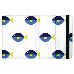Blue Fish Swim Yellow Sea Beach Apple iPad 3/4 Flip Case
