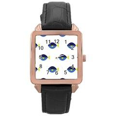 Blue Fish Swim Yellow Sea Beach Rose Gold Leather Watch