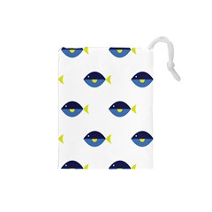 Blue Fish Swim Yellow Sea Beach Drawstring Pouches (Small)