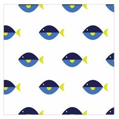 Blue Fish Swim Yellow Sea Beach Large Satin Scarf (Square)