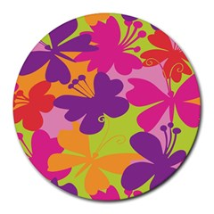 Butterfly Animals Rainbow Color Purple Pink Green Yellow Round Mousepads