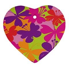 Butterfly Animals Rainbow Color Purple Pink Green Yellow Ornament (Heart)