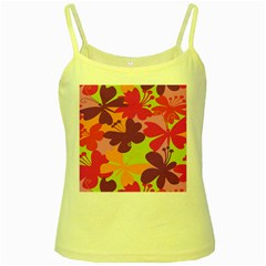 Butterfly Animals Rainbow Color Purple Pink Green Yellow Yellow Spaghetti Tank