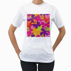 Butterfly Animals Rainbow Color Purple Pink Green Yellow Women s T-Shirt (White) (Two Sided)