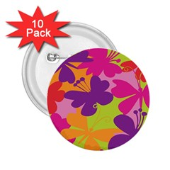 Butterfly Animals Rainbow Color Purple Pink Green Yellow 2.25  Buttons (10 pack)