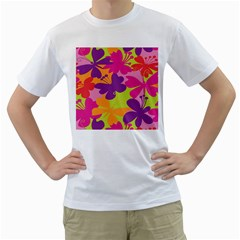 Butterfly Animals Rainbow Color Purple Pink Green Yellow Men s T-Shirt (White) (Two Sided)