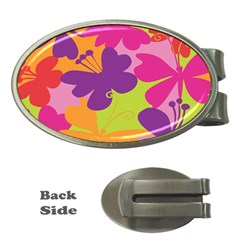 Butterfly Animals Rainbow Color Purple Pink Green Yellow Money Clips (oval)