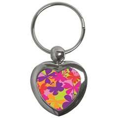Butterfly Animals Rainbow Color Purple Pink Green Yellow Key Chains (heart)
